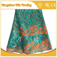 Popular Turquoise Guiprue African Tulle Sequin Lace Fabric for Luxury Wedding Dress 2016