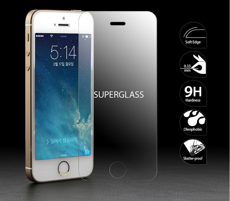 LINNO Retail package 0.3mm 2.5D Premiumn tempered glass Anti shock screen protector for iphone SE 5 5s