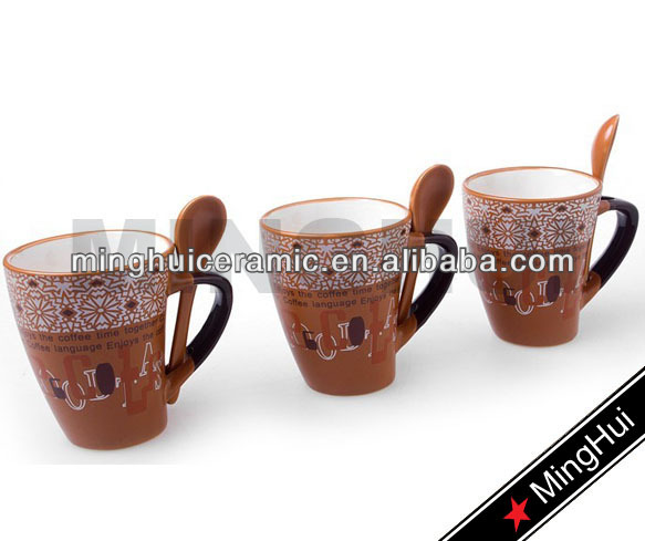 Ceramic latte coffee cups with new design
