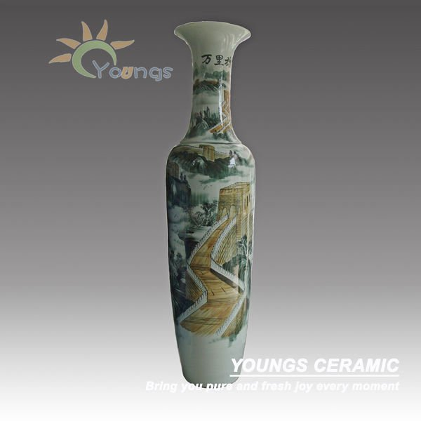 Large Ceramic Floor Vases Wholesale With Hand Painted The Great Wall Design