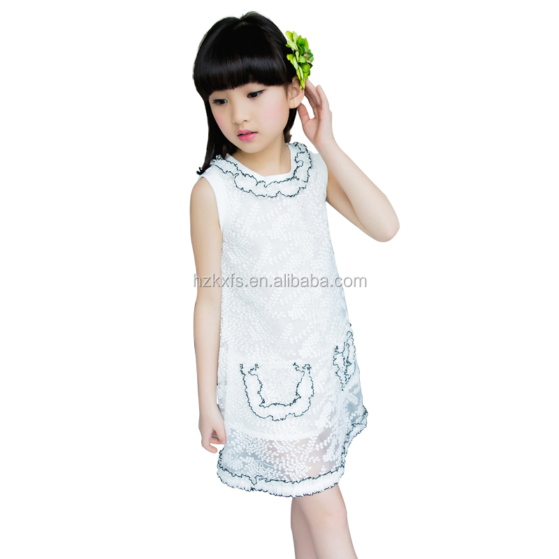 Girls Two Pockets Lace Elegant summer patterns children dress
