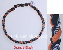 Tornado 3 ropes Germanium Titanium Baseball Sport Necklaces orange & black color