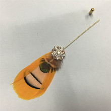 REAL Feather Gold Plug Lapel Stick Hat Prom Corsage Wedding Pin Brooch PM-292