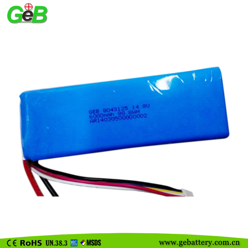 Rechargeable lipo battery 8043125 14.8V 6000mah with high performance