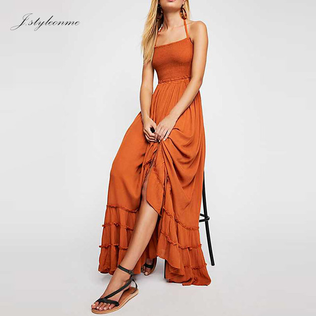 Stretchy Smock Crinkly Strapless Long Maxi Dress
