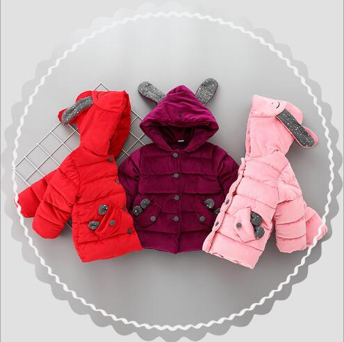 2017 little girl rabbit ear winter thick jacket 1-4 years