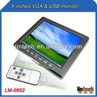 USB/AV inputs 8 inch color wide lcd digital monitor tv with VGA