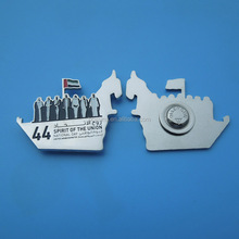 44th logo UAE map and seven sheikh silver metal magnetic pin brooch