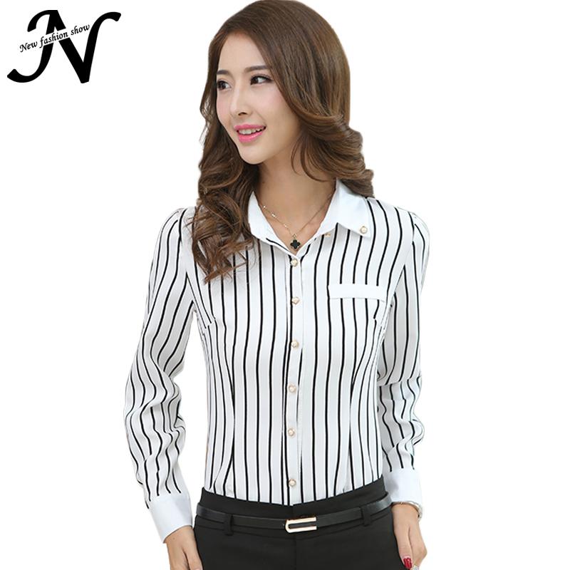 Buy Striped Long Sleeve Shirt Women 2015 Black White Vertical