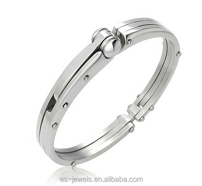 Handcuff Stainless Steel Silver Color Tone Mens Bangle Bracelet