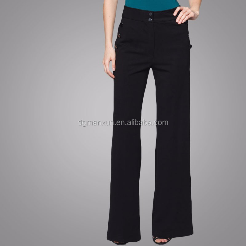 New fashion cotton classic women buttoned flared trousers