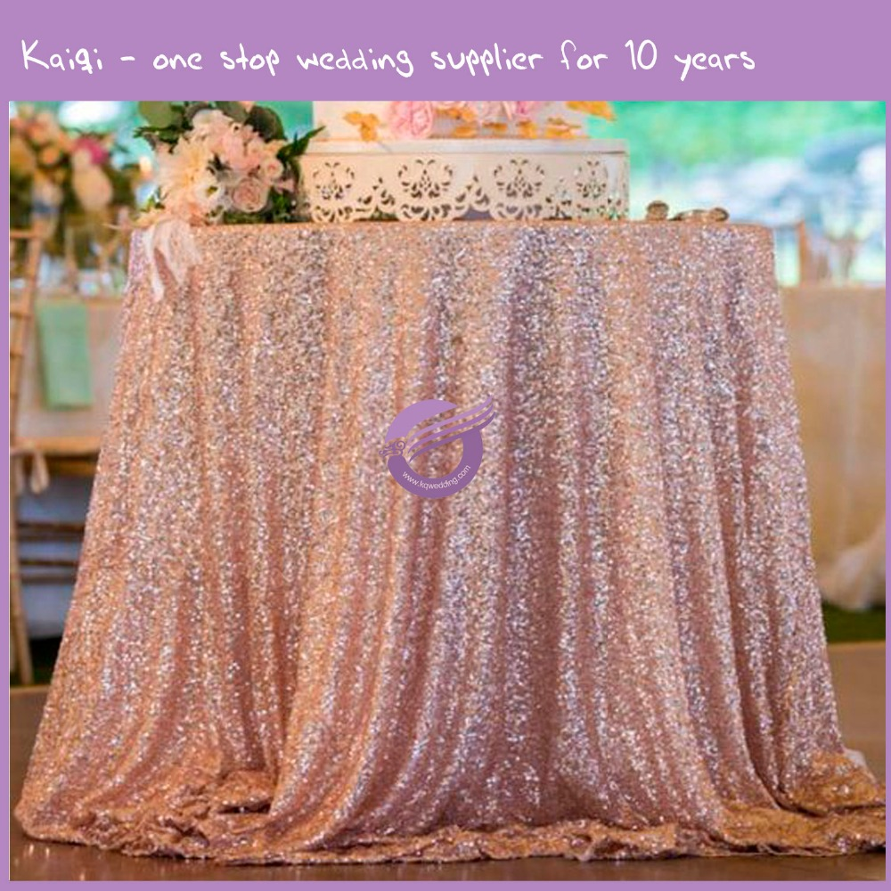 18804 132 inch round luxury gold sequins wedding table cloth