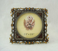 2.5''x2.5'' Fashion Antique Gold Jeweled Pewter Metal Picture Photo Frame with Crystal and Enamel(P0134122a1)