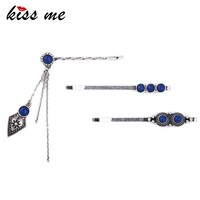 Women Vintage Hair Jewelry Fashion Blue Hairpin Barrettes 3 Pcs/Set Antique Silver Hair Accessories