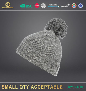 manufactory new fashion unisex winter knit hat with ball top