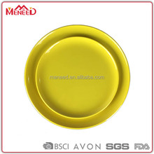 Different type of table service restaurant dishes round with melamine
