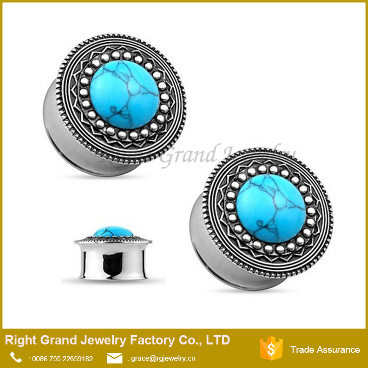 Precious Turquoise Center Jeweled Tribal Top Double Flared Ear Plug Gauges Piercings