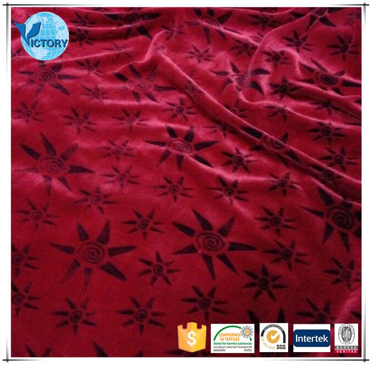 100% Polyester Cutting Motif Knitted Weft Flannel Fleece Fabric