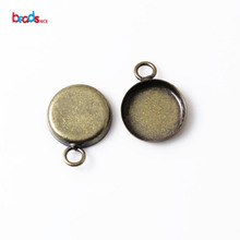 Beadsnice ID 13960 pendant bezel trays Blank Pendant Settings Brass Round fits 12mm round hot jewelry sets