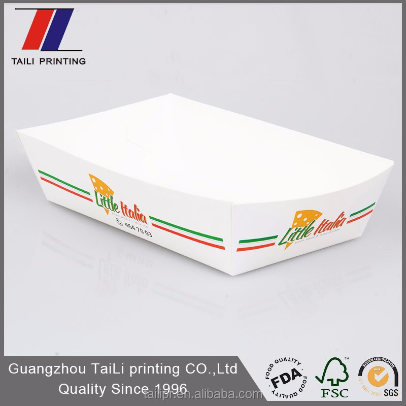 Custom printed disposable paper food tray/fast food serving paper hot dog trays
