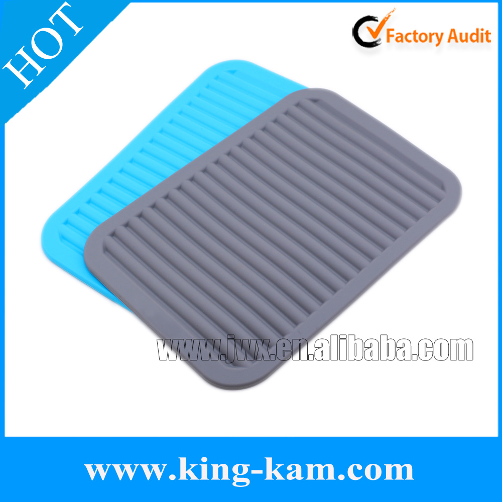 Heat resistant kitchen ware dish drying tray silicone drying sink mat