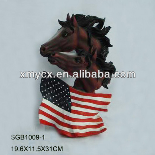 Wholesale resin horse head crafts with America plag