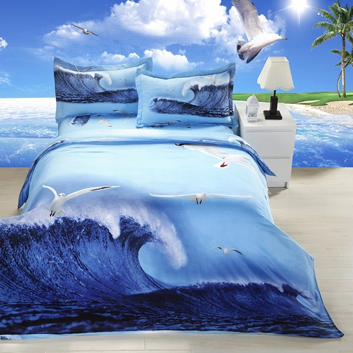 Flying Seagull 3D Painted Bedding With Zipper Pillow Case