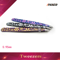 TW1249 Fast delivery professional stainless steel flower coating eyebrow tweezers