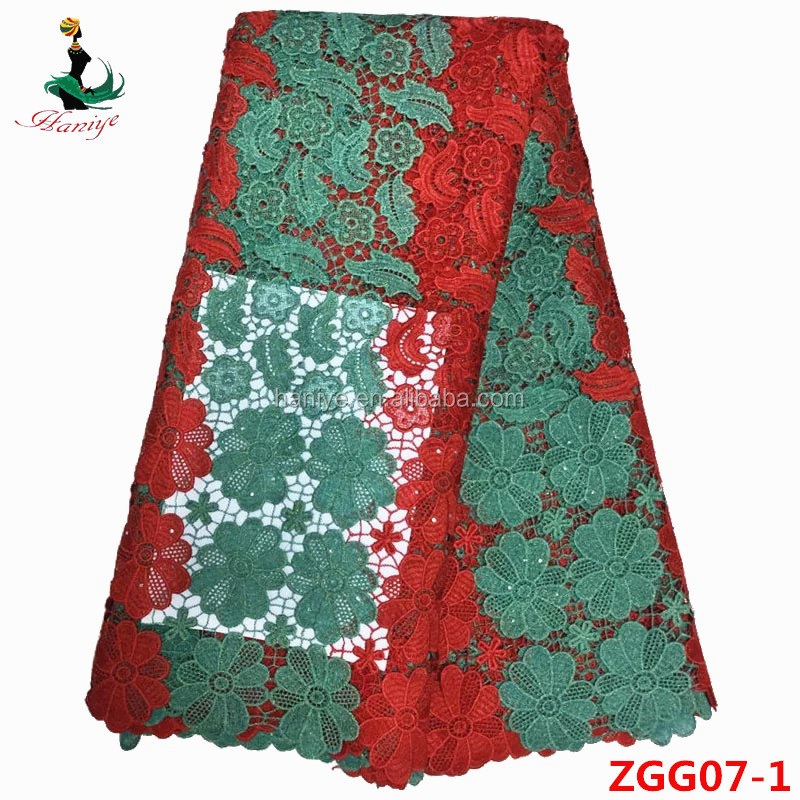 Haniye ZGG07-1 green+red embroidery designs african High quality guipure lace <strong>fabric</strong>/cord lace <strong>fabric</strong> with crocheted trimmin