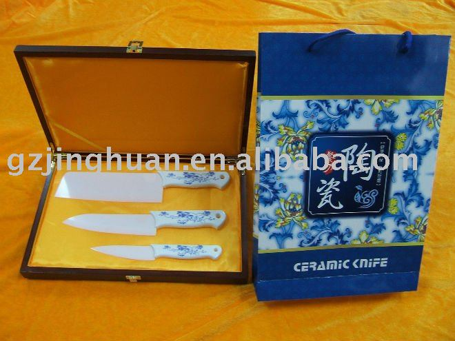 3 pieces ceramic knife set with porcelain Handle
