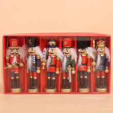 6pcs/ Set Wooden Nutcracker Soldier, 12cm Puppets Nutcracker Ornament Set On sales