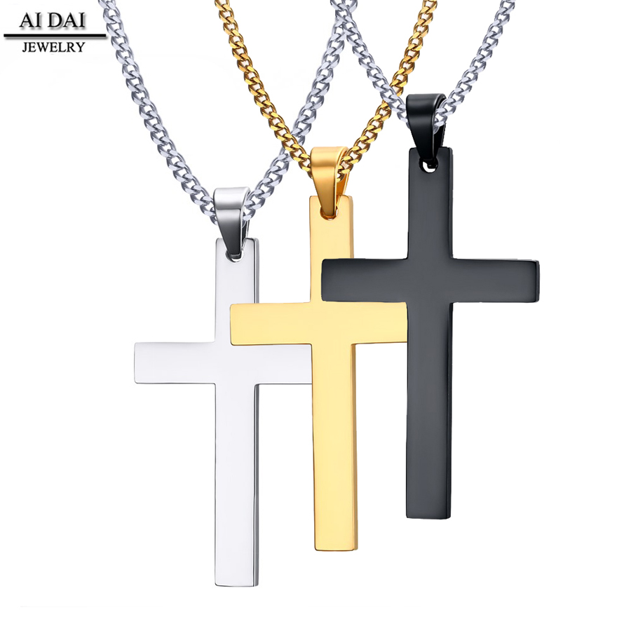 Cross Necklaces Pendant for Men Fine Stainless Steel Jewelry 3 color