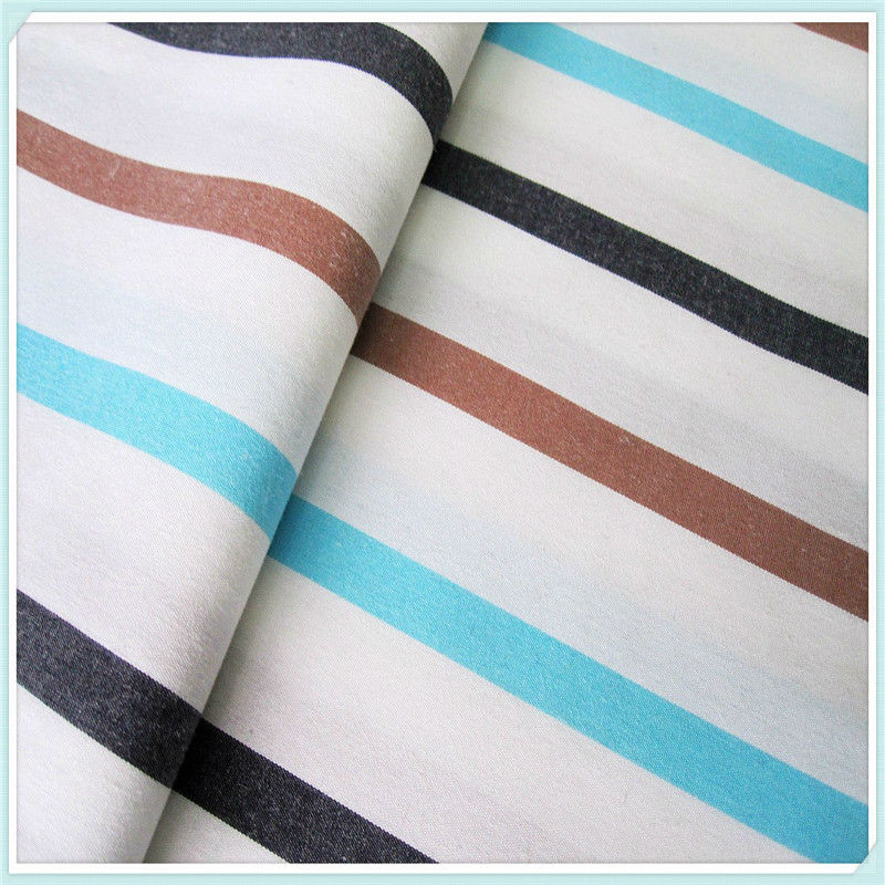 100 cotton yarn dyed brown and white stripe fabric