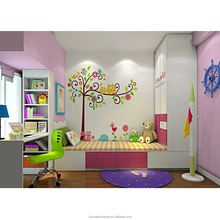 Good Price Guangzhou Unique Lovely Pink Girls Kids Bedroom Single Wall Bed Furniture 2017