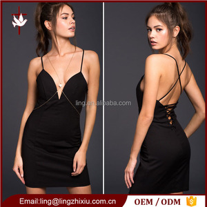 Latest drop V-neck spaghetti strap Back cross women dress