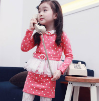 Frock 2015 New Arrival Baby Girls Clothing Korean Dress Fashion Pink