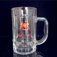 decal water or beer drinking glass mug with handle with your logo