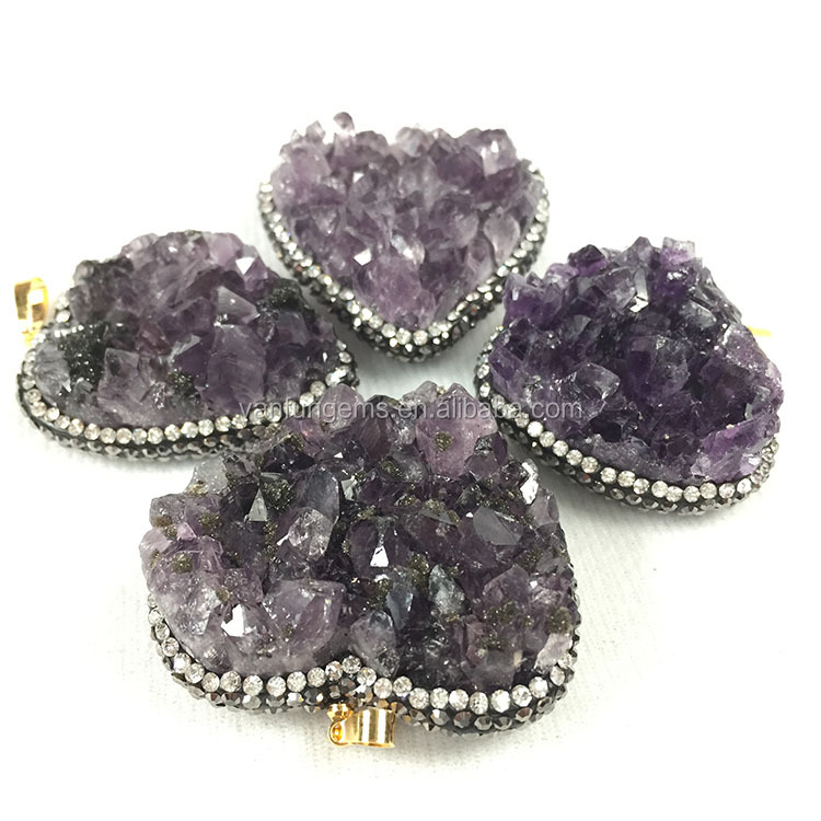 factory price rhinestone paved nature amethyst drusy pendant