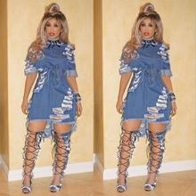 Wholesale women sexy fashion demin skirts broken hole jeans dress
