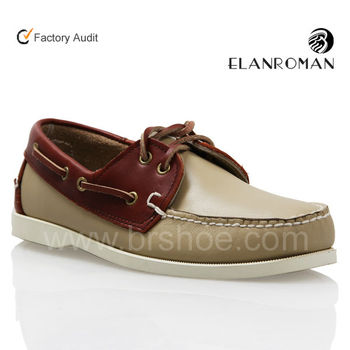 High quality classic leather lace up boat shoes moccasins for men