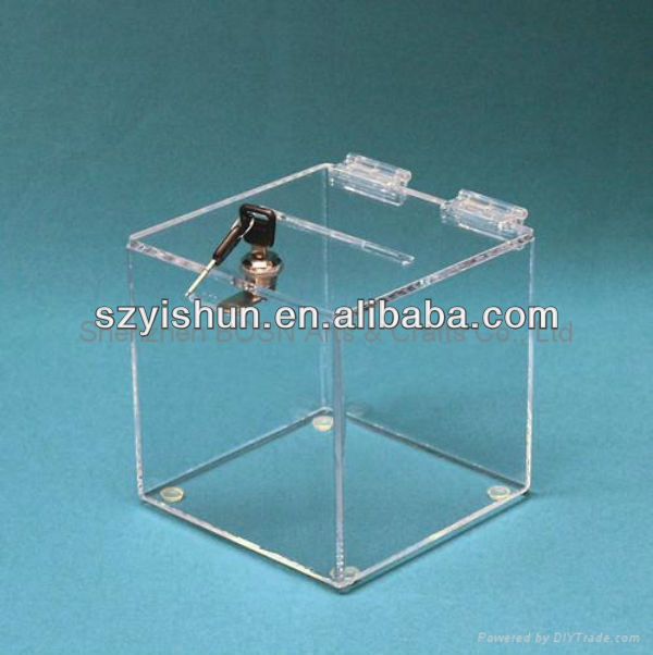 Top quality acrylic donation boxes with locks