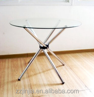 Glass dinning table 4 tied legs round top