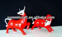 Red color style cool painted resin buffalo figurine