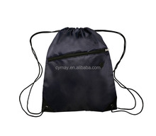 Fashionable low price customized polyester drawstring bag with zipper