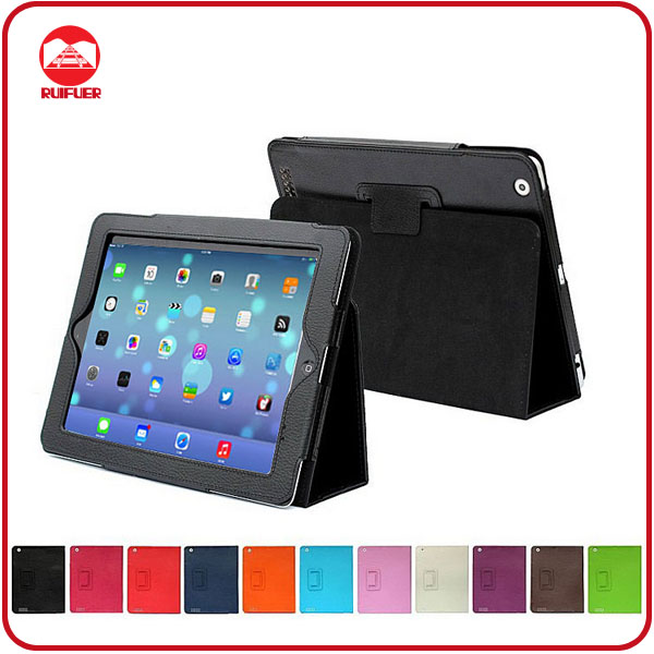 Manufacturer High Quality Simple Color Photo Frame Deluxe Leather Stand Case for ipad Air
