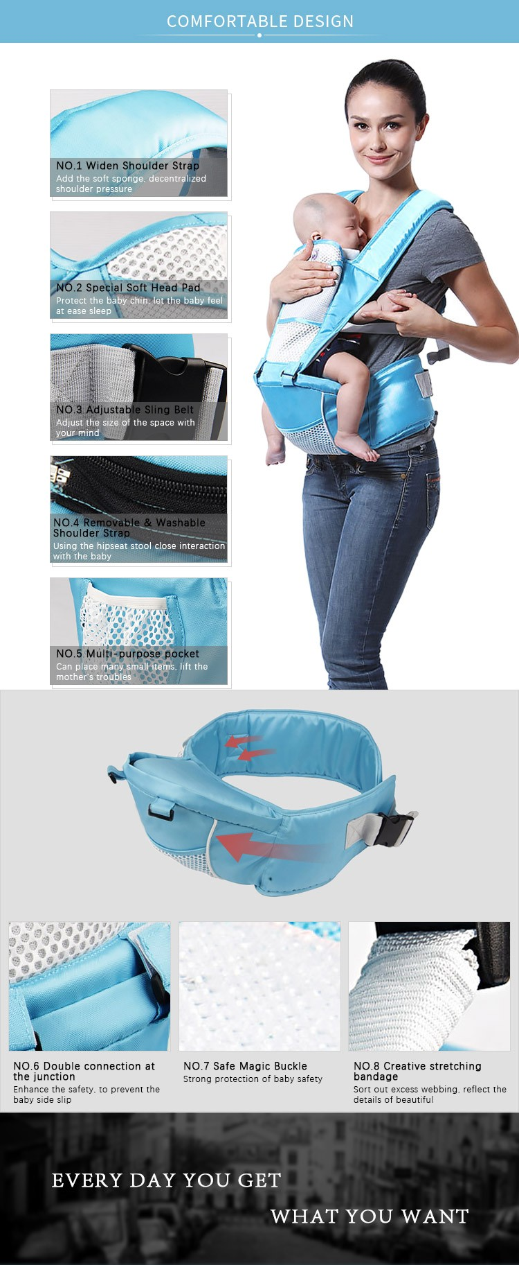 Cheap Chinesse Wholesale Multi-functional Back Support Hipseat Baby Sling Carrier Baby Sling Wrap