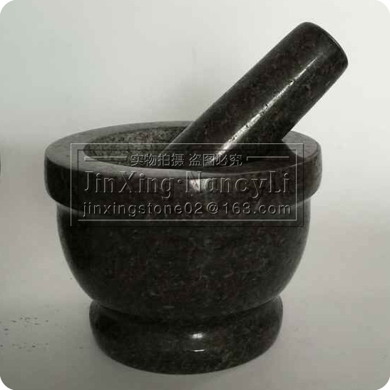 Wholesale Natural Stone Kitchenware Polished Solid Black Granite Garlic Mortar and Pestle