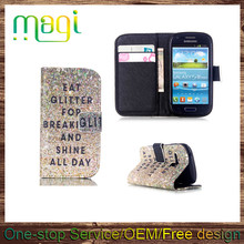 In Stock Card Holder Printed Wallet Stand Flip Cover TPU Case for Samsung S3mini 8190