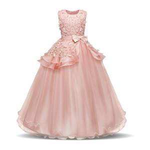 HYC08 Floor-Length Flower Girls Dress Satin Ruffled Fly Sleeves Bowknot Girls Evening Prom Long Birthday Princess Party Dress