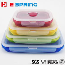 Silicone Food Storage Box Foldable Sealed Crisper Refrigerator Preservation Box Microwave Oven Food Container